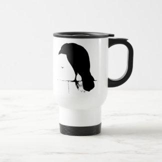 Raven Silhouette - Vintage Goth Ravens & Crows Travel Mug