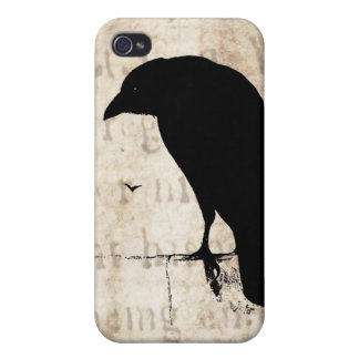 Raven Silhouette - Vintage Retro Ravens & Crows iPhone 4/4S Case