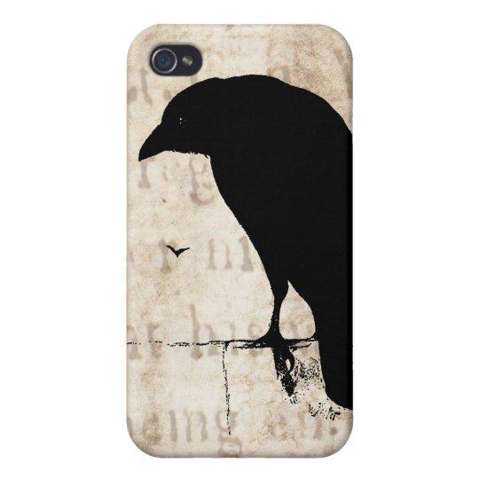 Raven Silhouette - Vintage Retro Ravens & Crows iPhone 4 Case