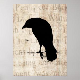 Raven Silhouette - Vintage Retro Ravens & Crows Print