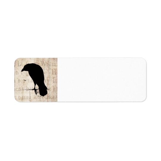 Raven Silhouette - Vintage Retro Ravens & Crows Return Address Label