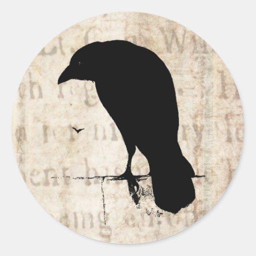 Raven Silhouette - Vintage Retro Ravens & Crows Stickers