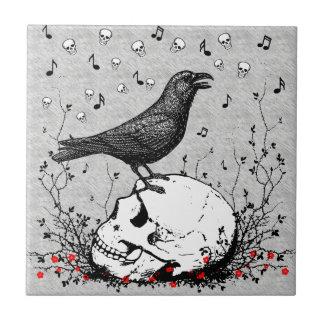 Raven Sings Song of Death on Skull Illustration Tile