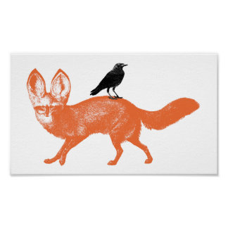 Raven Sits On Fox Poster
