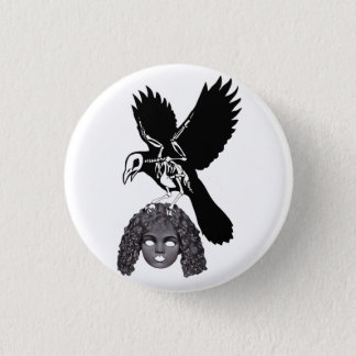 Raven Skeleton holding Dolls Head Gothic Badge 1 Inch Round Button