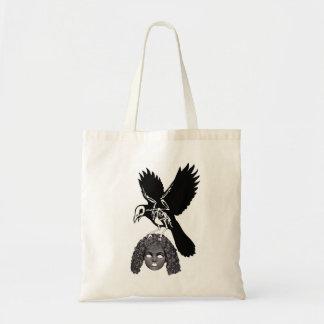 Raven Skeleton holding Dolls Head Gothic Tote Bag