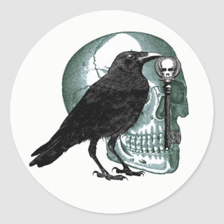 Raven Skull And Skeleton Key Stickers