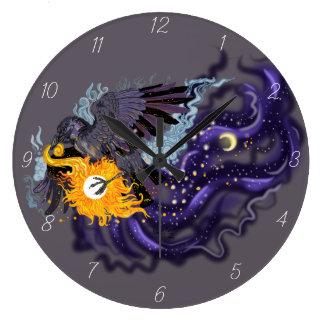 Raven Sky Folklore Large Clock