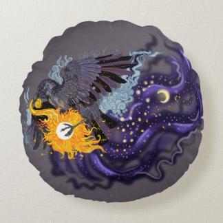Raven Sky Folklore Round Pillow