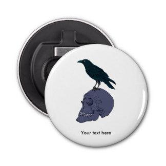 Raven Standing On A Skull Button Bottle Opener