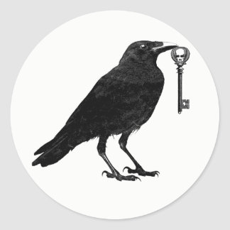 Raven Steals Skeleton Key Classic Round Sticker
