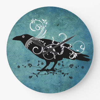 Raven & Swirls Teal Wall Clock