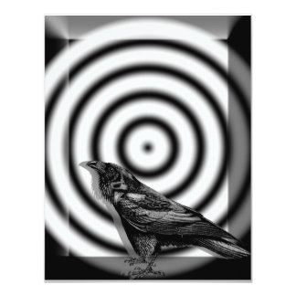 "Raven Target in Black and White Halloween 4.25"" X 5.5"" Invitation Card"