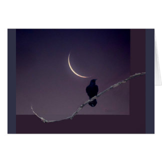 Raven & The Crescent Moon Halloween Greeting Card
