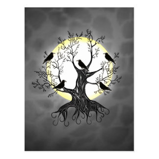 Raven Tree with Moon Postcard