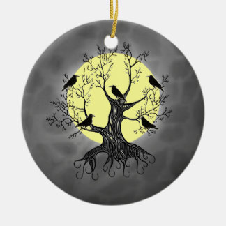 Raven Tree with Moon Round Ceramic Ornament