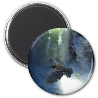 RAVEN & WATER FALL Nature Gifts Magnet
