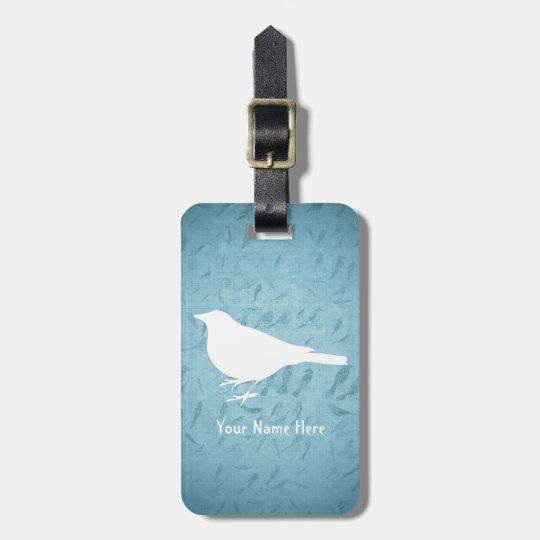 Raven White Silhouette –Add Name- Luggage Tag