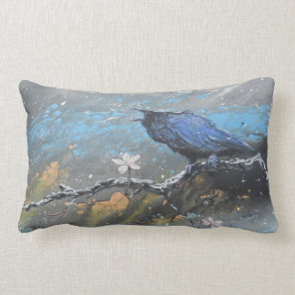 Raven with cherry blossoms in snow lumbar pillow