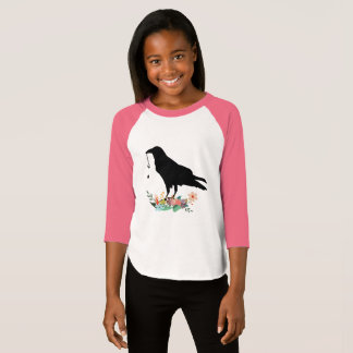 Raven with Vintage Key and Flowers T-Shirt
