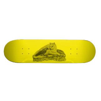 Raven with wolf black yellow Design Custom Skateboard
