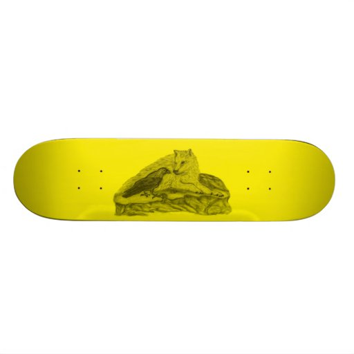 Raven with wolf black yellow Design Skateboard