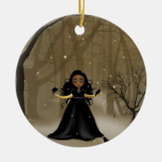Raven Wood Christmas Round Ceramic Ornament
