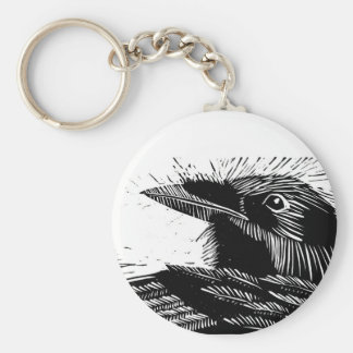 Raven Woodcut Keychain