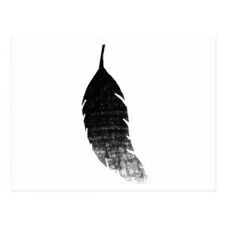 Raven's feather postcard