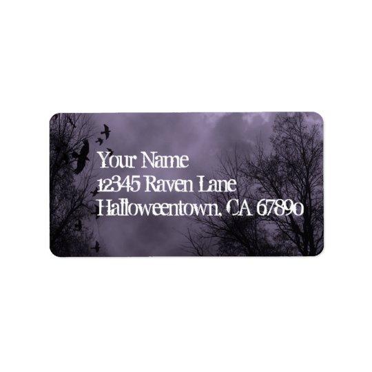 Ravens Haunted Sky Purple Mist Custom Address Label