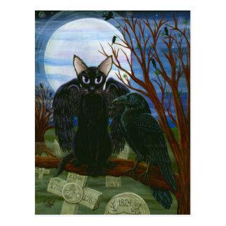 Raven's Moon Black Cat Crow Gothic Art Postcard