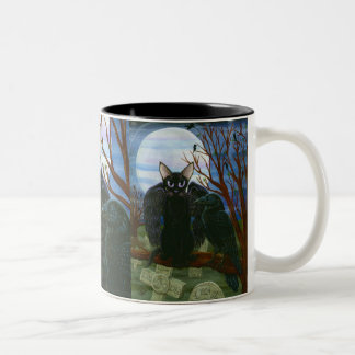 Raven's Moon Black Cat Crow Gothic Fantasy Art Mug