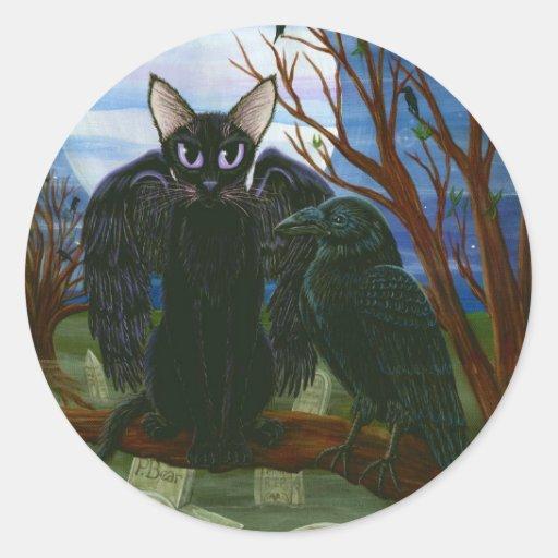 Raven's Moon Black Cat Crow Gothic Fantasy Sticker