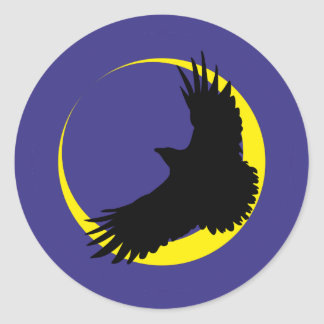 Ravens moon half-moon raven moon crescent classic round sticker