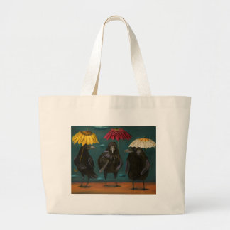 Ravens Rain Large Tote Bag