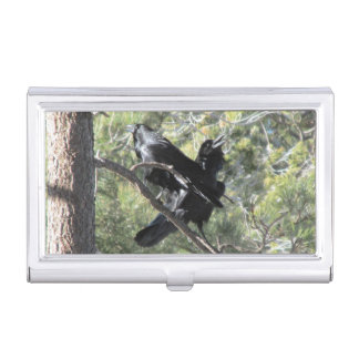 Ravens Talking on the Mountain Business Card Holder
