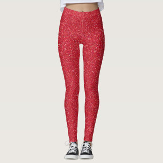 Ravishing Red Faux Glitter Leggings