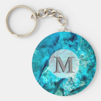 Raw And Rough Turquoise Texture Monogram Basic Round Button Keychain