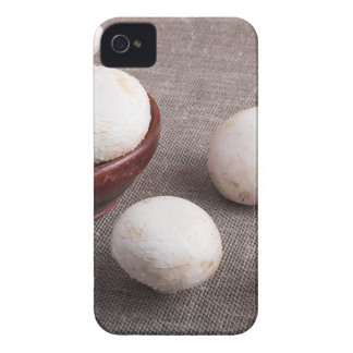 Raw champignon mushrooms and onions iPhone 4 case