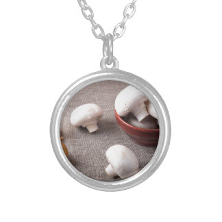 Raw champignon mushrooms and onions on the table silver plated necklace