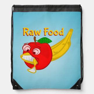 Raw Foods Food Fight Apple Verses Banana Drawstring Bags