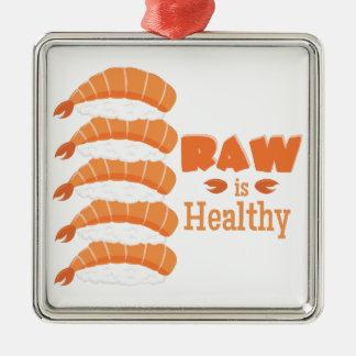Raw Healthy Silver-Colored Square Ornament