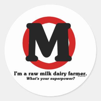 Raw Milk Dairy Farmer Classic Round Sticker