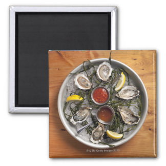 Raw oysters arranged square magnet