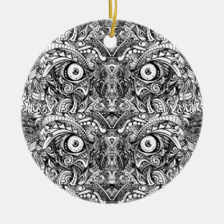 Raw Rough Mean Angry Evil Eyes Sharp Detailed Hand Ceramic Ornament