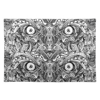 Raw Rough Mean Angry Evil Eyes Sharp Detailed Hand Placemat