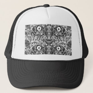 Raw Rough Mean Angry Evil Eyes Sharp Detailed Hand Trucker Hat