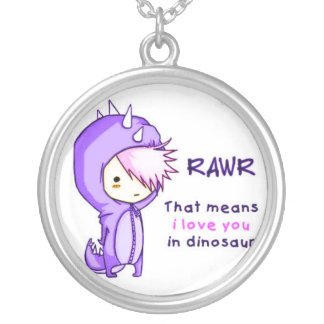 RAWR <3 SILVER PLATED NECKLACE