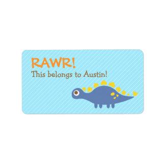 Rawr, Cute Blue Stegosaurus dinosaur For Kids Address Label
