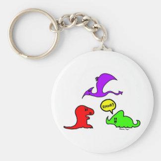 Rawr! Cute Dinosaurs Chibi Babies Dinos Basic Round Button Keychain